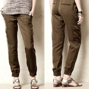 Elevenses olive green silky cargo joggers